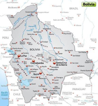 Illustration pour Carte de La Bolivie comme une carte d'aperçu en gris - image libre de droit