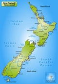 Map of new zealand as an overview map in green