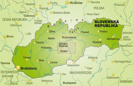El mapa de Eslovaquia