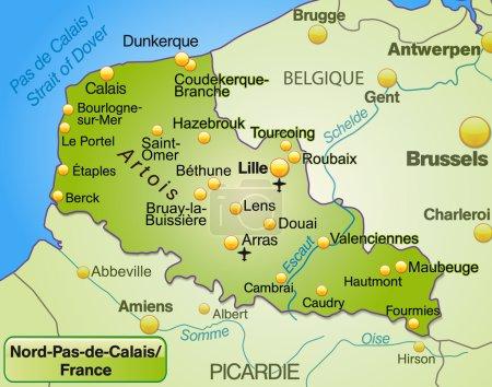 Illustration pour La carte de Nord-pas-de-calais comme une carte d'aperçu en vert - image libre de droit
