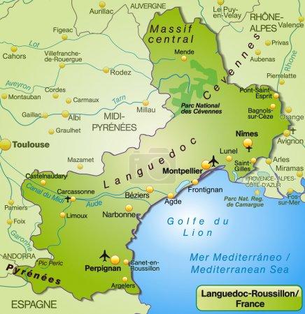 Mapa de languedoc-roussillon