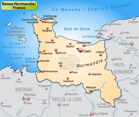 Map of Lower Normandy