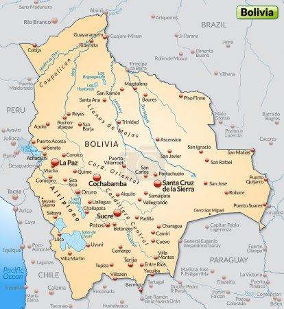 Illustration pour Carte de La Bolivie comme une carte d'aperçu en orange pastel - image libre de droit