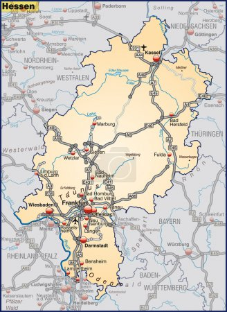 Map of Hesse with highways in pastel orange...