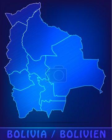Illustration pour Carte de La Bolivie avec des frontières comme scrible - image libre de droit