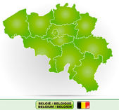 Map of Belgium with borders in green