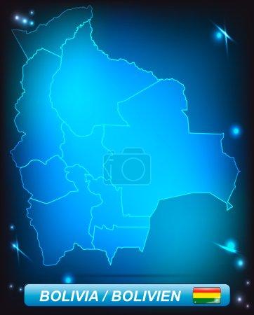 Illustration pour Carte de La Bolivie avec des frontières aux couleurs vives - image libre de droit