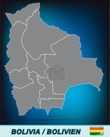 Illustration pour Carte de La Bolivie avec des frontières en gris vif - image libre de droit