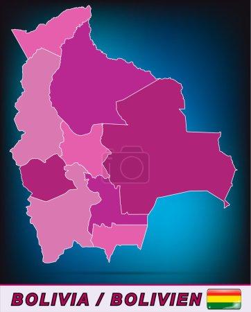 Illustration pour Carte de La Bolivie avec des frontières en violet - image libre de droit