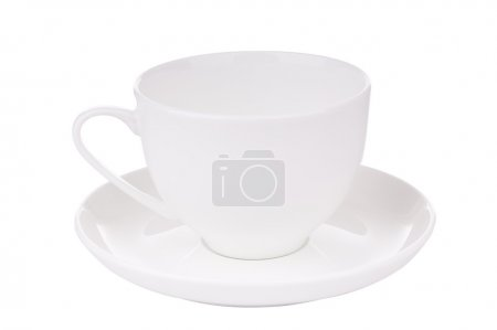 Photo pour Teacup blanc isolé sur blanc avec un chemin de coupe - image libre de droit