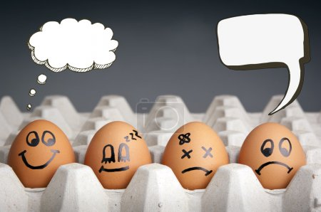 Photo for Mental health concept in playful style with egg characters displaying different emotions and blank speech bubbles - Royalty Free Image