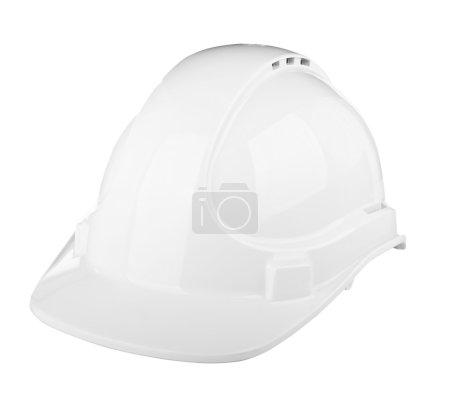 Photo pour Chapeau dur utilisé sur chantier en blanc isolé sur blanc - image libre de droit