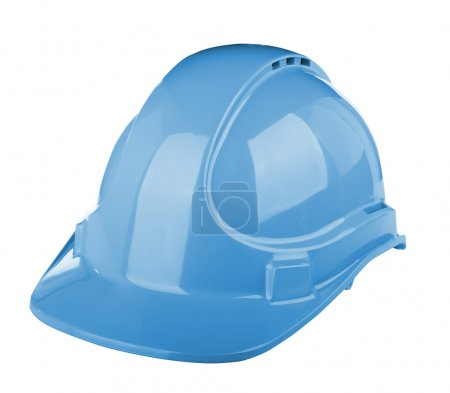Photo pour Casquette rigide utilisée sur chantier de construction de couleur bleue isolée sur blanc - image libre de droit