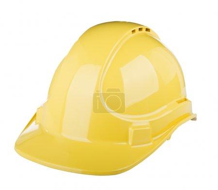 Photo pour Casquette rigide utilisée sur chantier de construction de couleur jaune isolée sur blanc - image libre de droit