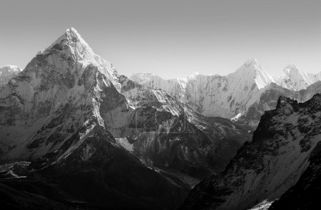 Photo for Spectacular mountain scenery on the Mount Everest Base Camp trek through the Himalaya, Nepal in black and white - Royalty Free Image