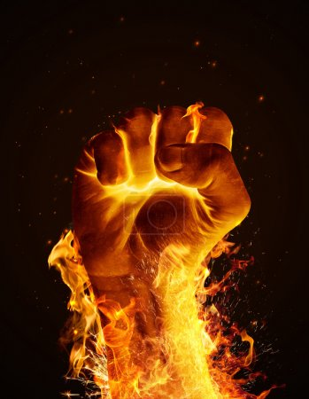 Photo for Hand consumed in flames on black background - Royalty Free Image