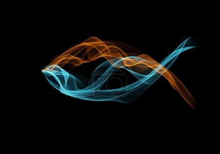 Photo pour Fumée bleue et orange formant un symbole chrétien du poisson . - image libre de droit