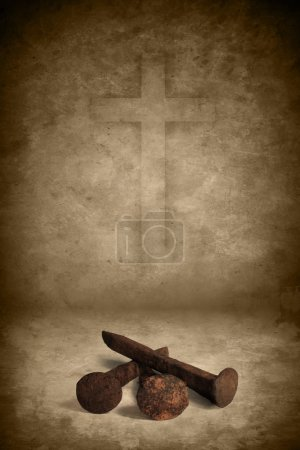Photo for Three old rusty nails on grunge texture background with cross - Royalty Free Image