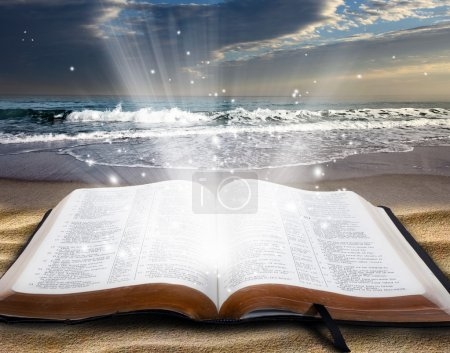 Bible at beach