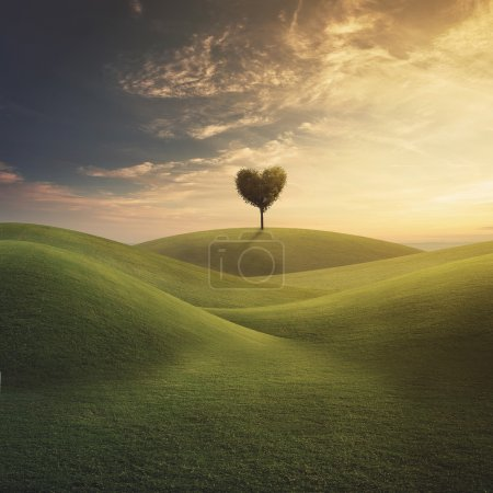Photo for Surreal landscape with a tree in shape of a heart. - Royalty Free Image