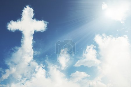 Photo for Clouds forming the shape of a cross - Royalty Free Image