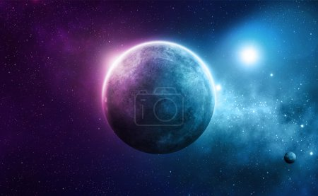 Photo for Blue and pink planet with two suns in deep space - Royalty Free Image
