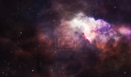 Pink nebula in deep space