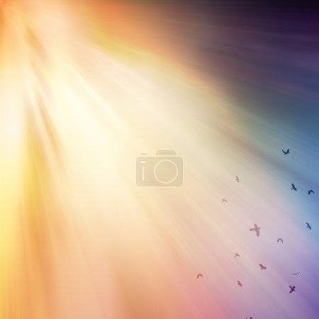 Photo for Birds flying in the sky with colorful rays of light. - Royalty Free Image