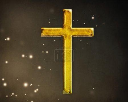 Photo pour Une croix chrétienne sur fond marron. - image libre de droit