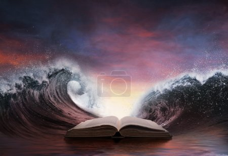 Bible and two large waves
