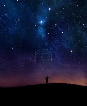 Photo for A man lifting his hands in praise under night sky. - Royalty Free Image