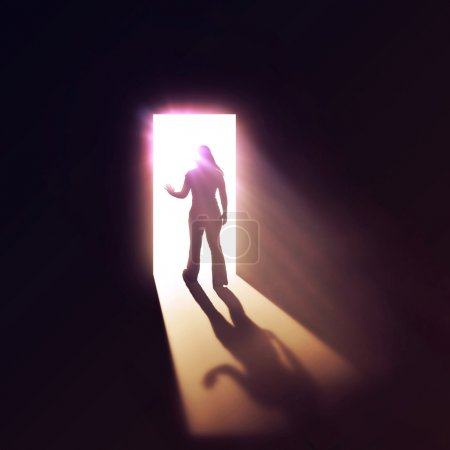 Woman through doorway.