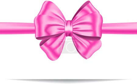 Illustration for Pink ribbon with gorgeous bow. Gift card. Vector illustration - Royalty Free Image