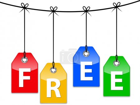 Illustration for Free icons. Colorful glossy price tags. Vector - Royalty Free Image