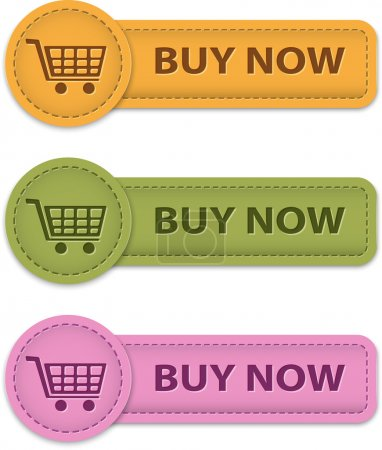 Illustration for Buy Now buttons for online shopping made of leather. Vector illustration - Royalty Free Image