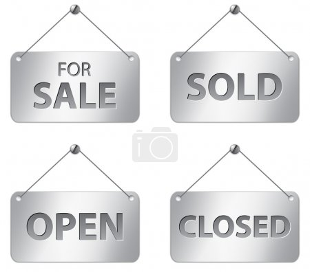 Illustration for Metallic signs for sale, sold, open and closed. Vector illustration - Royalty Free Image