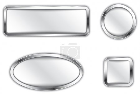 Illustration for Metallic banners. Silver buttons. Icons. Vector illustration - Royalty Free Image