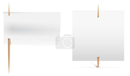 Illustration pour Autocollants blancs à épingler comme des drapeaux. Des notes de service. Illustration vectorielle - image libre de droit