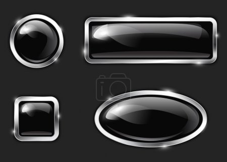 Illustration for Black glossy metallic buttons. Vector illustration - Royalty Free Image