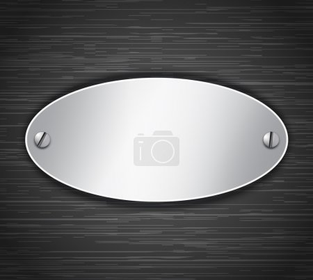 Illustration for Metallic oval tablet attached with screws. Blank banner on dark brushed metallic background. Vector illustration - Royalty Free Image