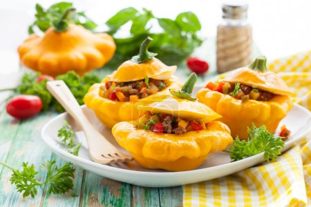 Pattypan squash stufeed with vegetables and meat...