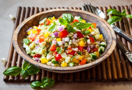 Photo for Quinoa salad with cucumber,tomato and feta - Royalty Free Image