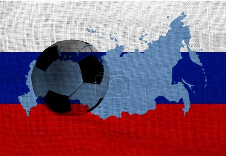 Football ball on the national flag of Russia...