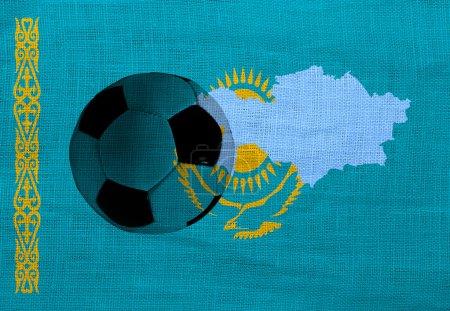 Football ball on the national flag of Kazakhstan...