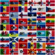 Football ball and national flags of all european c...