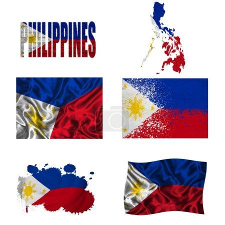 Photo pour Drapeau des Philippines et carte dans différents styles dans différentes textures - image libre de droit