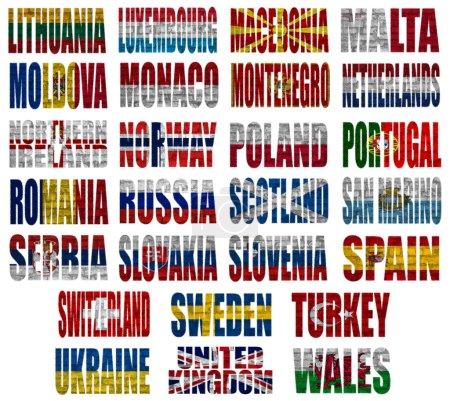 Photo pour Pays d'Europe (De L à W) drapeaux sur fond blanc - image libre de droit