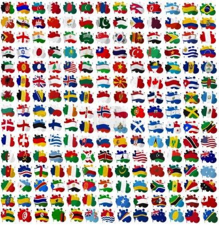 Photo pour Tous les pays du monde drapeau taches sur un fond blanc - image libre de droit