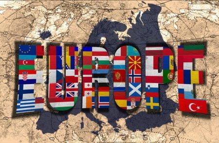 Photo pour Carte, mot et drapeaux de l'Europe sur fond de carte politique du monde - image libre de droit