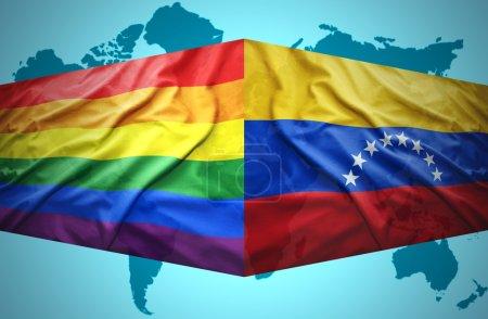 Waving Venezuelan and Gay flags